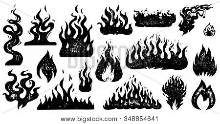 Set Of Flame And Fire In Vintage Style. Hand Drawn Engraved Monochrome Bonfire Sketch. Vector Illust