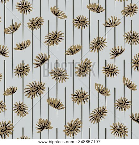 Breezy Dandelions Seamless Vector Pattern. Dandelions Moving In Breeze In Blue And Green Retro Color
