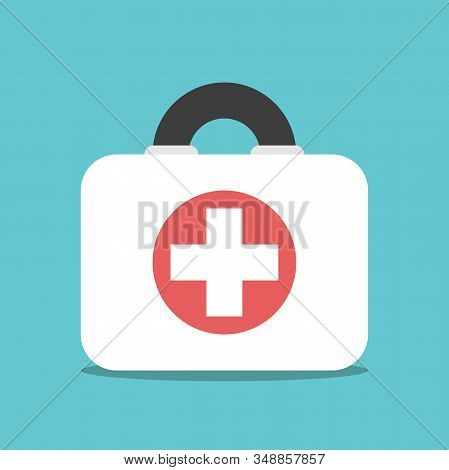 First Aid Kit Box On Turquoise Blue. Emergency, Doctor, Medic Service, Urgency, Healthcare And Illne