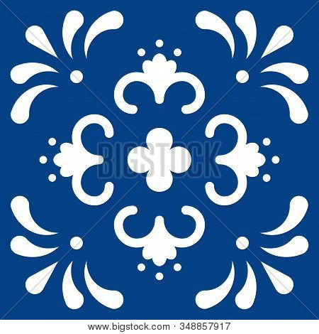 Mexican Talavera Tile Pattern. Ornament In Traditional Style From Puebla In Classic Blue And White.