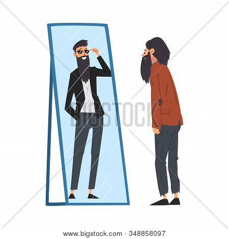 Hipster Man Standing In Front Of Mirror Looking At His Reflection And Imagine Himself As Successful