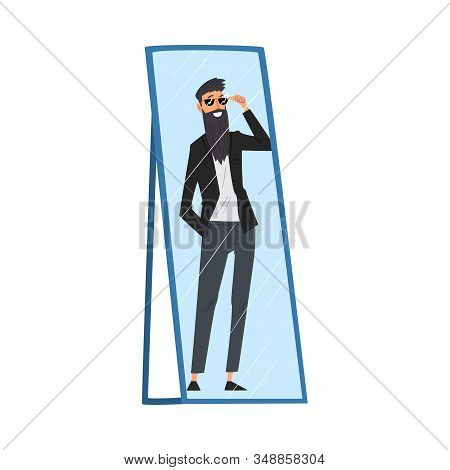 Reflection Of Successful Hipster Man In The Mirror, Alter Ego Concept Vector Illustration