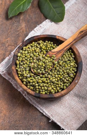 Green Mung Beans In Bowl On Wooden  Background /  Bean Seed Cereal Whole Grains Green Mung Beans