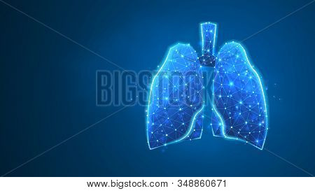 Human Lungs. Organ Anatomy, Biological Air Filter, Healthy Body Concept. Polygonal Image On Blue Neo