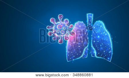 Human Lungs With Virus-cell. Epidemic Strain, Pneumonia Or Respiratory Pathogen Concept. Abstract Po
