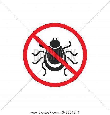 Tick Parasite Warning Sign. Epidemic. Human Mite Parasite. Mite Parasites.