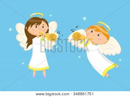 Angels With Trumpets Playing Music, Boy And Girl Vector. Halo And Wings, Musical Instruments, Heaven