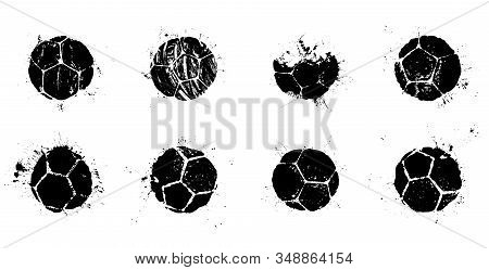 Grunge Soccer Balls Set. Vector Illustration Of Real Soccer Ball Prints With Splashes For Your Footb