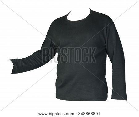 Sweatshirt Isolated On A White Background. Black Sweatshirt . Sporty Style