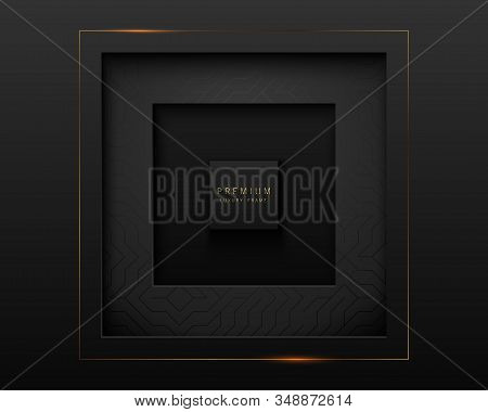 Vector Black Abstract Square Paper Cut Luxury Frame. Premium Label Dark Design Background With Geome