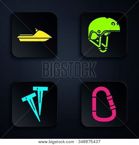 Set Carabiner, Jet Ski, Pegs For Tents And Helmet. Black Square Button. Vector