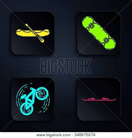 Set Snowboard, Rafting Boat, Bicycle Trick And Skateboard Trick. Black Square Button. Vector