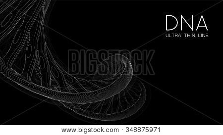 Ultra Thin Line Dna Double Helix Illustration. Mysterious Source Of Life Trendy Background. Genom 3d