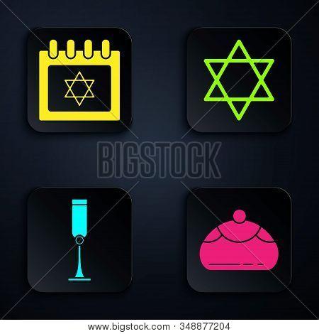 Set Jewish Sweet Bakery, Jewish Calendar With Star Of David, Jewish Goblet And Star Of David. Black