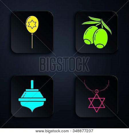Set Star Of David Necklace On Chain, Balloons With Ribbon With Star Of David, Hanukkah Dreidel And O