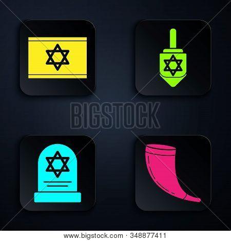 Set Traditional Ram Horn, Shofar, Flag Of Israel, Tombstone With Star Of David And Hanukkah Dreidel.