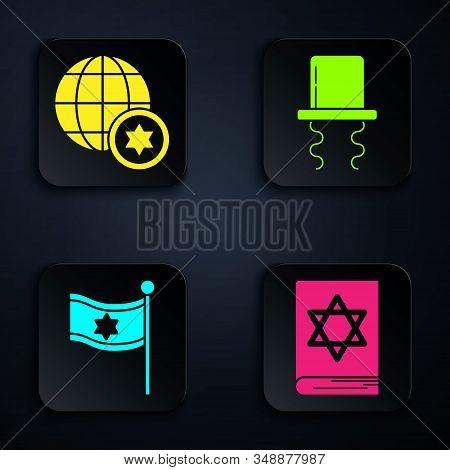 Set Jewish Torah Book, World Globe And Israel, Flag Of Israel And Orthodox Jewish Hat With Sidelocks