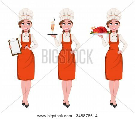 Beautiful Young Chef Woman, Set Of Three Poses. Pretty Cook Lady In Professional Apron And Hat Holds