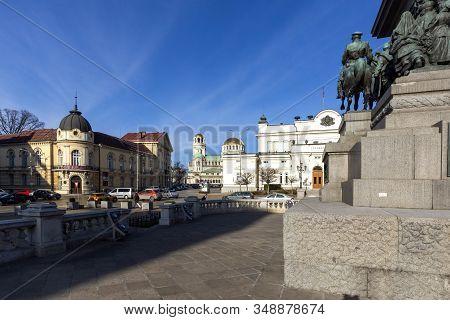 Sofia, Bulgaria - January 22, 2020: Monument To The Tsar Liberator And National Assembly In Sofia, B