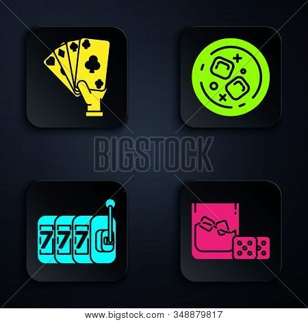 Set Game Dice And Glass Of Whiskey With Ice Cubes, Hand Holding Playing Cards, Slot Machine With Luc