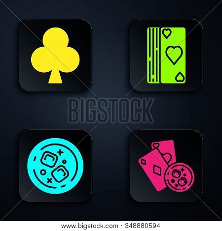 Set Playing Cards And Glass Of Whiskey With Ice Cubes, Playing Card With Clubs Symbol, Glass Of Whis