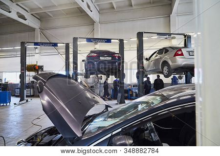 Murmansk, Russia - June 21, 2019: Service Center And Repair In Showroom With Cars Of Dealership Ford