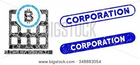 Mosaic Bitcoin Corporation Building And Corroded Stamp Seals With Corporation Phrase. Mosaic Vector