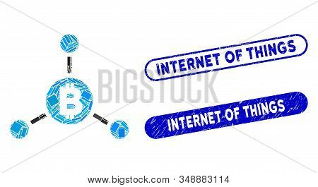 Mosaic Bitcoin Links And Rubber Stamp Seals With Internet Of Things Text. Mosaic Vector Bitcoin Link