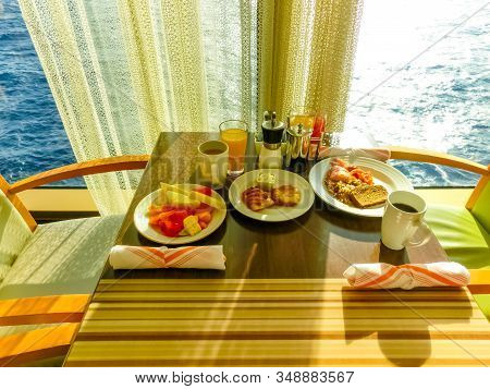 Dining Room Buffet Aboard The Abstract Luxury Cruise Ship. Breakfast With Sea View