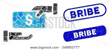 Collage Bribe And Corroded Stamp Seals With Bribe Caption. Mosaic Vector Bribe Is Designed With Rand