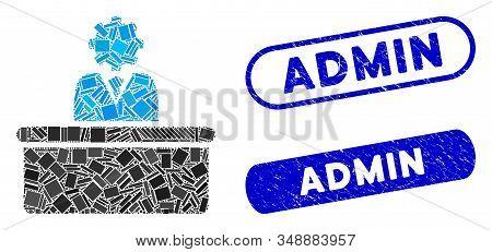 Mosaic Bureaucrat And Grunge Stamp Seals With Admin Phrase. Mosaic Vector Bureaucrat Is Designed Wit