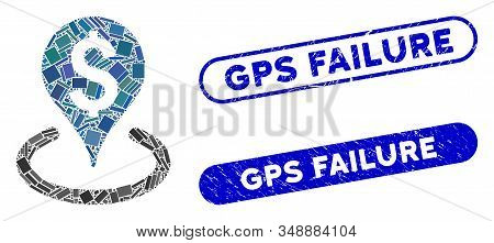Collage Business Geotargeting And Grunge Stamp Seals With Gps Failure Phrase. Mosaic Vector Business