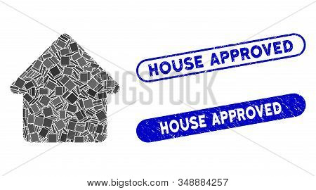 Mosaic Cabin And Grunge Stamp Seals With House Approved Text. Mosaic Vector Cabin Is Composed With R