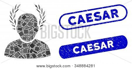 Mosaic Caesar And Distressed Stamp Seals With Caesar Phrase. Mosaic Vector Caesar Is Designed With R