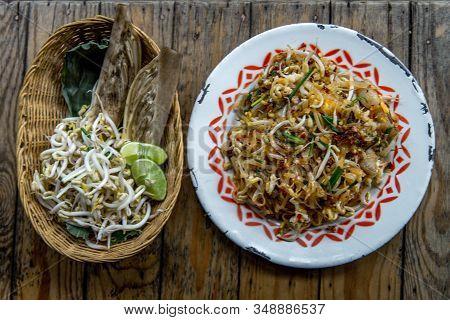 Popular Thai Fried Local Korat Noodle With Cube Tofu And Shrimp, Call Pad Mee Korat, Korat Stir Frie