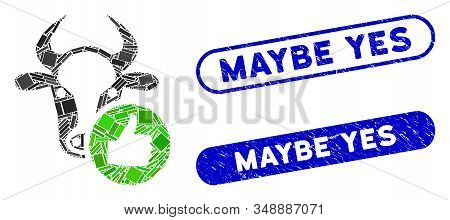 Collage Cow Thumb Up And Rubber Stamp Seals With Maybe Yes Caption. Mosaic Vector Cow Thumb Up Is Cr