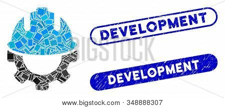Collage Development And Corroded Stamp Seals With Development Phrase. Mosaic Vector Development Is C