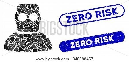 Mosaic Diver Armor And Corroded Stamp Seals With Zero Risk Phrase. Mosaic Vector Diver Armor Is Crea