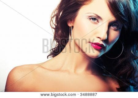 Portrait Of Girl With Red Lipstick