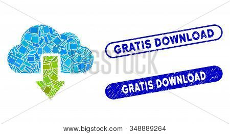 Mosaic Download And Rubber Stamp Watermarks With Gratis Download Text. Mosaic Vector Download Is Des