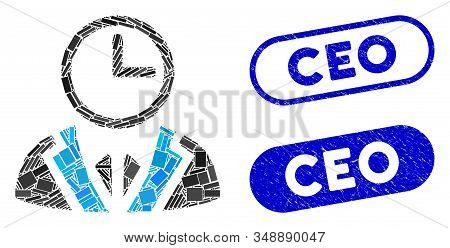 Mosaic Duty Person And Corroded Stamp Seals With Ceo Caption. Mosaic Vector Duty Person Is Designed