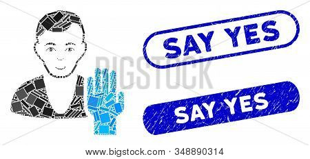 Mosaic Elector And Rubber Stamp Seals With Say Yes Text. Mosaic Vector Elector Is Formed With Scatte