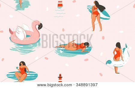 Hand Drawn Vector Stock Abstract Cute Summer Time Cartoon Illustrations Seamless Pattern With Unicor