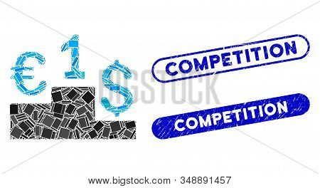 Mosaic Euro Dollar Competition And Corroded Stamp Watermarks With Competition Caption. Mosaic Vector