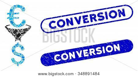 Mosaic Euro Dollar Conversion Filter And Rubber Stamp Seals With Conversion Caption. Mosaic Vector E