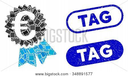 Mosaic Euro Featured Price Tag And Corroded Stamp Seals With Tag Text. Mosaic Vector Euro Featured P