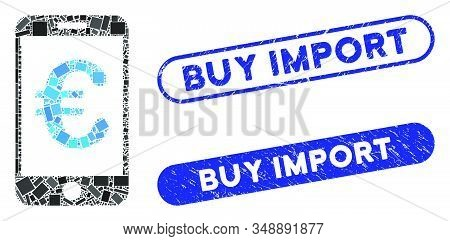 Mosaic Euro Mobile Payment And Rubber Stamp Seals With Buy Import Phrase. Mosaic Vector Euro Mobile