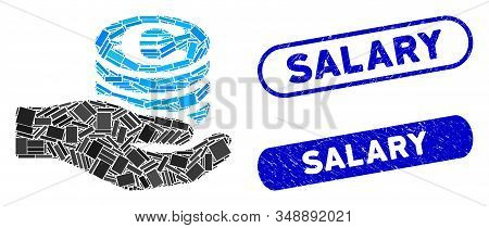 Mosaic Euro Salary And Grunge Stamp Watermarks With Salary Caption. Mosaic Vector Euro Salary Is Des