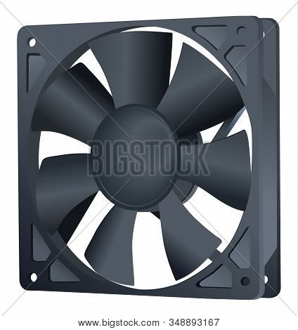 Computer Cooler. Pc Hardware Fan. Vector Icon. Isolated On White Background. Realistic. Element Of C
