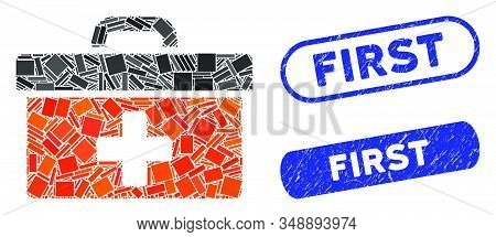 Mosaic First Aid Toolbox And Distressed Stamp Seals With First Caption. Mosaic Vector First Aid Tool